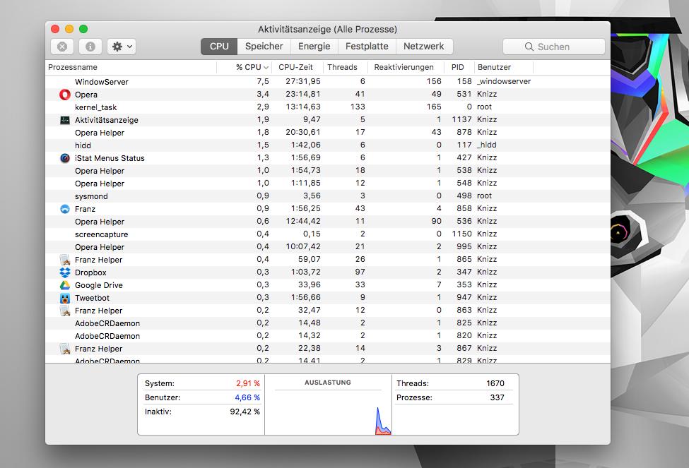 Apple macOS Aktivitätsanzeige - Taskmanager