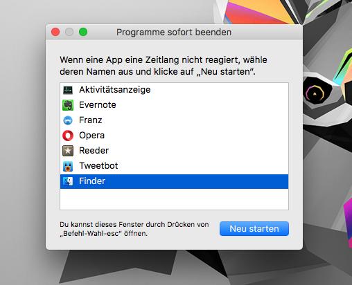 Apple macOS Programme sofort beenden - Taskmanager