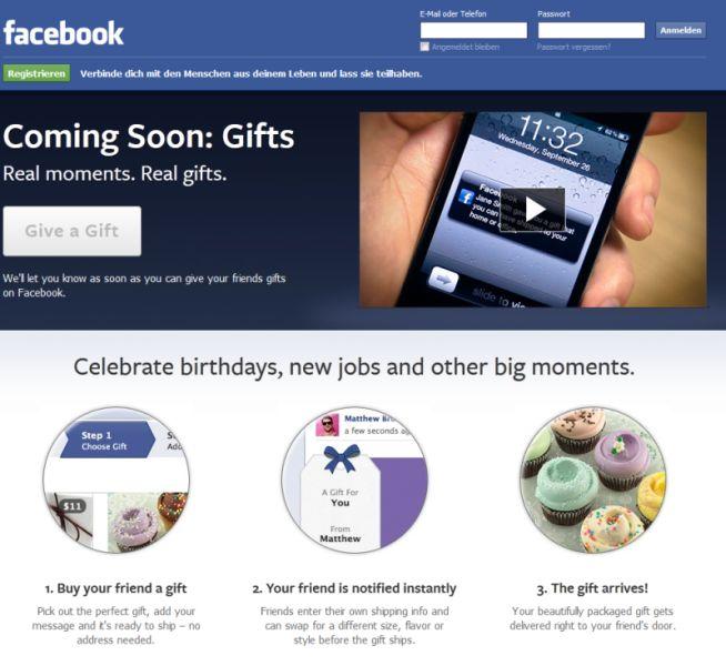 Facebook bekommt Geschenke-Service