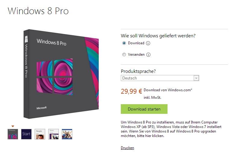 Windows 8 kommt zum Schleuderpreis