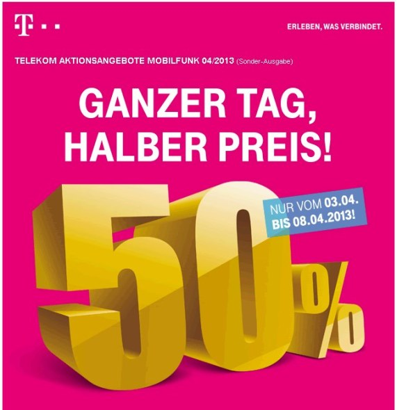Telekom: 50% Rabatt auf iPhone 5, HTC One & Co