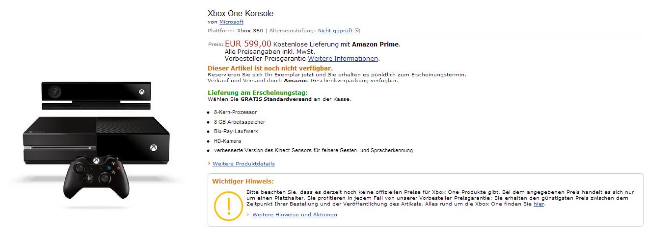 Xbox One jetzt bei Amazon vorbestellbar