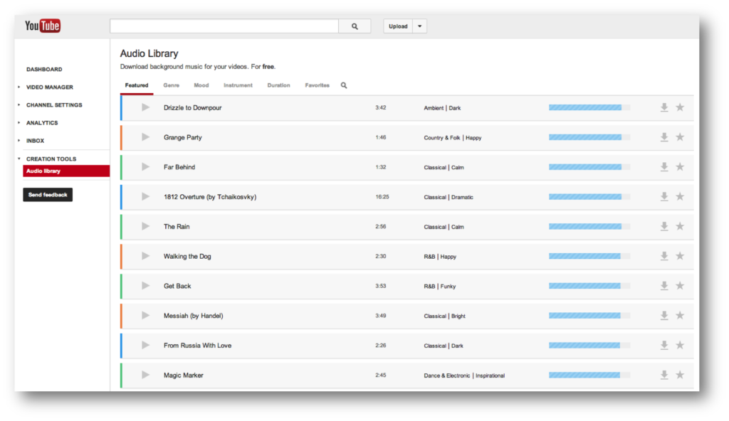 YouTube: Audio Library mit 150 kostenlosen Tracks