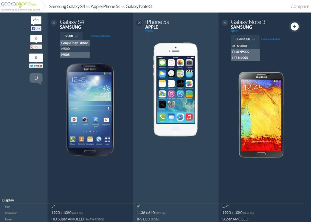 Geekaphone: Smartphones bequem vergleichen