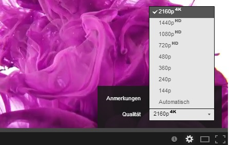 YouTube: Player jetzt mit 4K-Option