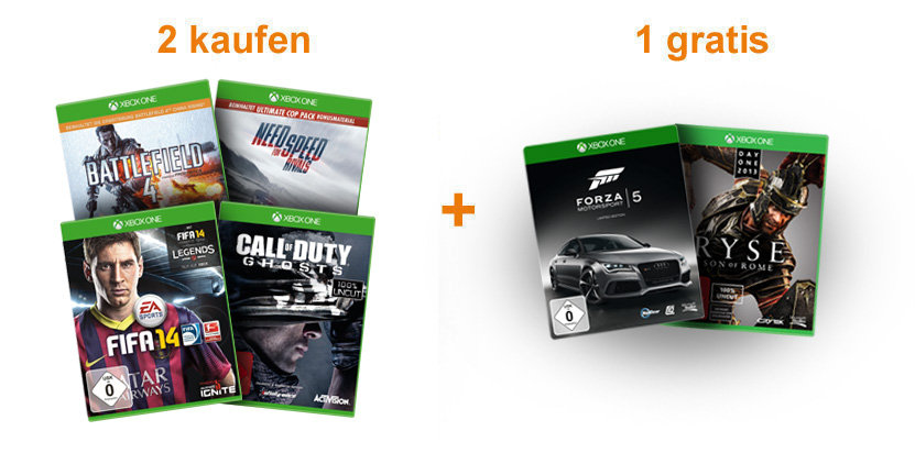 Xbox One: 2 Spiele kaufen + 1 gratis bekommen