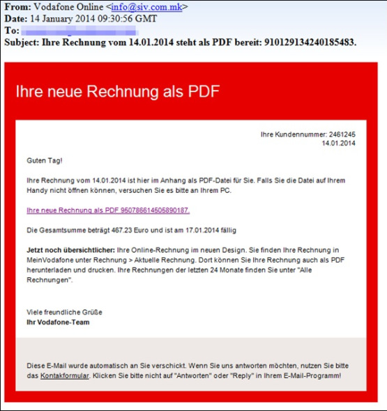 vodafone welle von phishing mails im umlauf knizzful. Black Bedroom Furniture Sets. Home Design Ideas