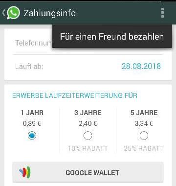 WhatsApp: zahlt für eure Freunde