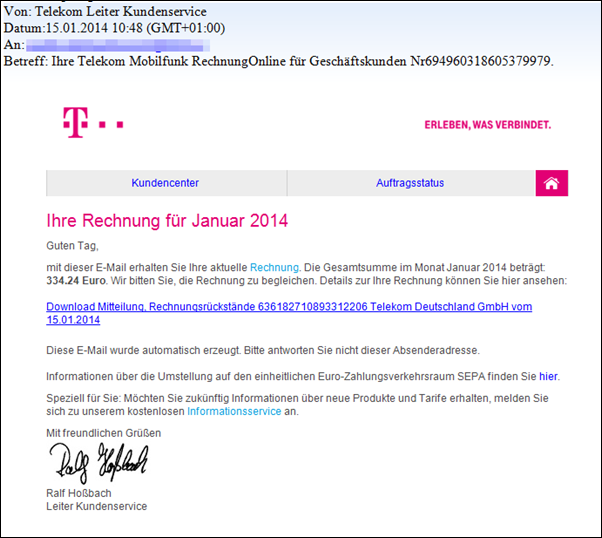 telekom welle von phishing mails geht ebenfalls rum. Black Bedroom Furniture Sets. Home Design Ideas