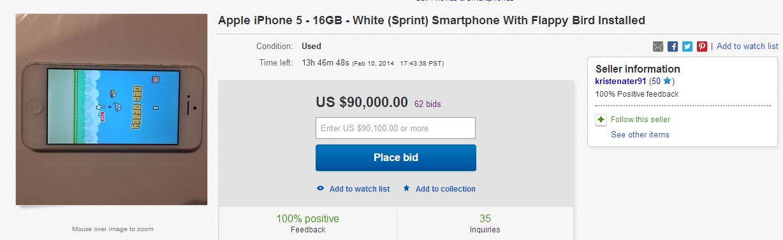 iPhone 5 mit Flappy Bird für 90.000 Dollar bei Ebay