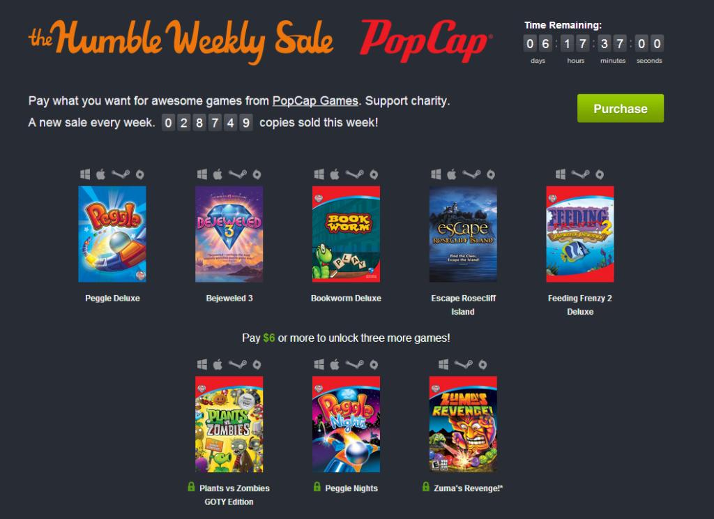 Humble Weekly Sale: PopCap Games
