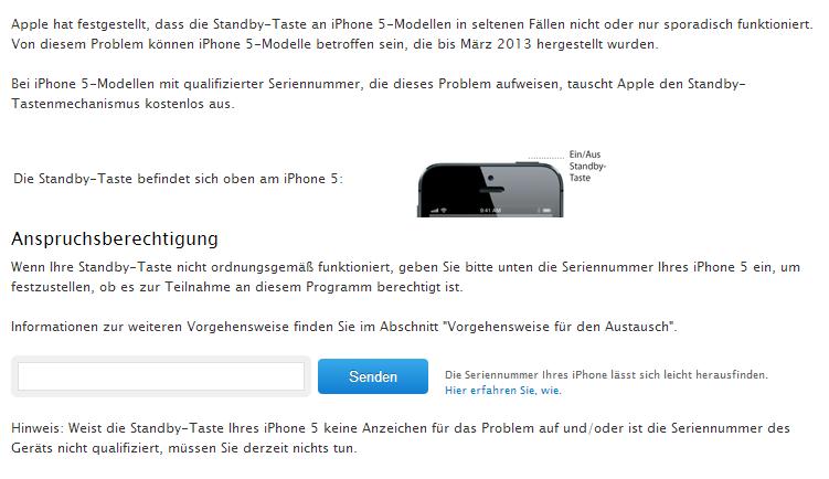 Apple: Programm zum Austausch der Standby-Taste des iPhone 5