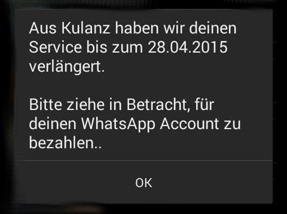 WhatsApp: Kostenlose Verlängerung aus Kulanz