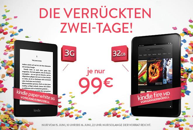 Amazon: Kindle Paperwhite 3G & Kindle Fire HD 32GB für nur 99 Euro