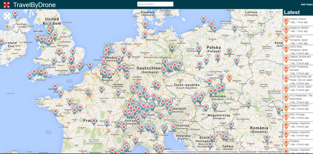 TravelByDrone: Weltkarte gespickt mit Drohnen-Videos