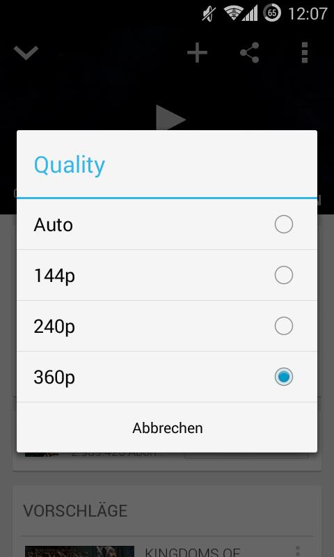 YouTube-App: Version 5.7 mit Auswahl der Videoqualität