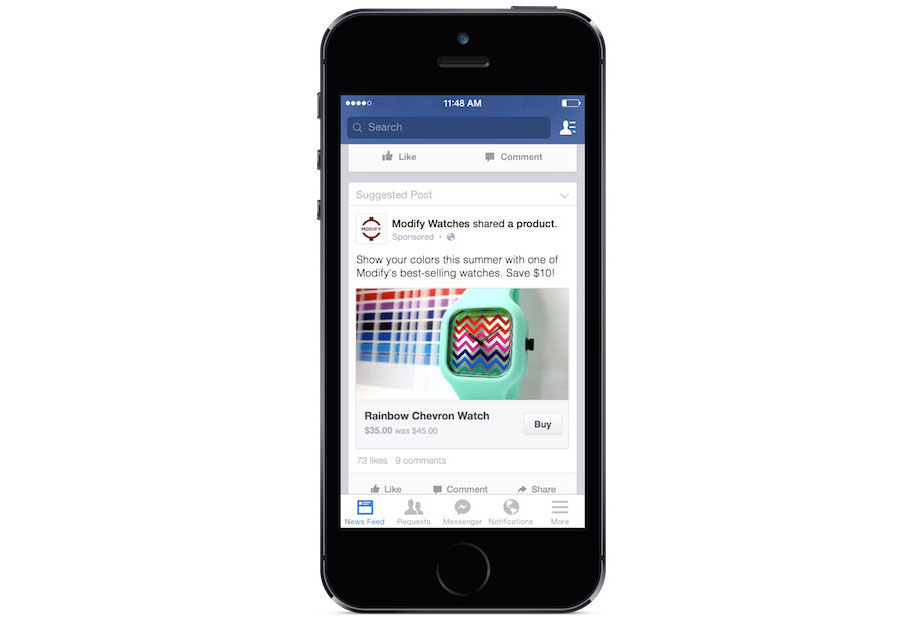 """Facebook: Werbeeinblendungen mit """"Kaufen""""-Button"""