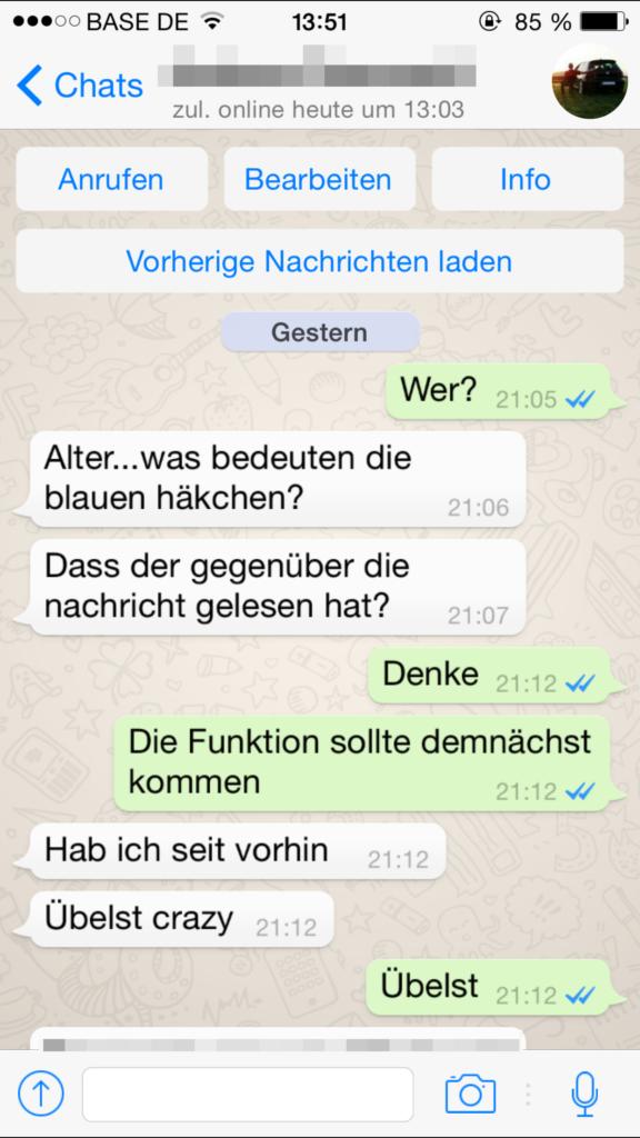 """WhatsApp: Blaue Häkchen signalisieren """"Gelesen""""-Status"""