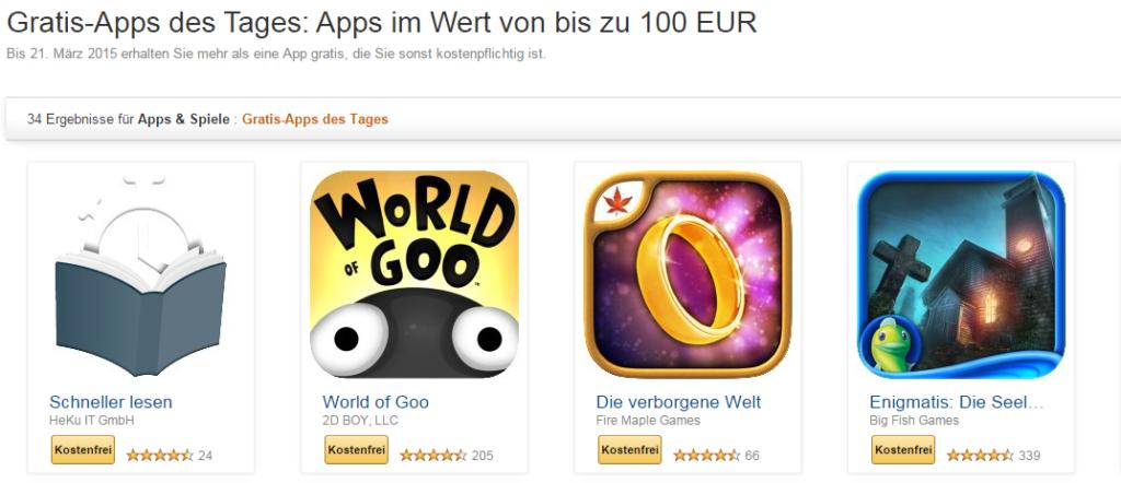 Amazon: Wieder kostenlose Apps im Wert von über 100 Euro