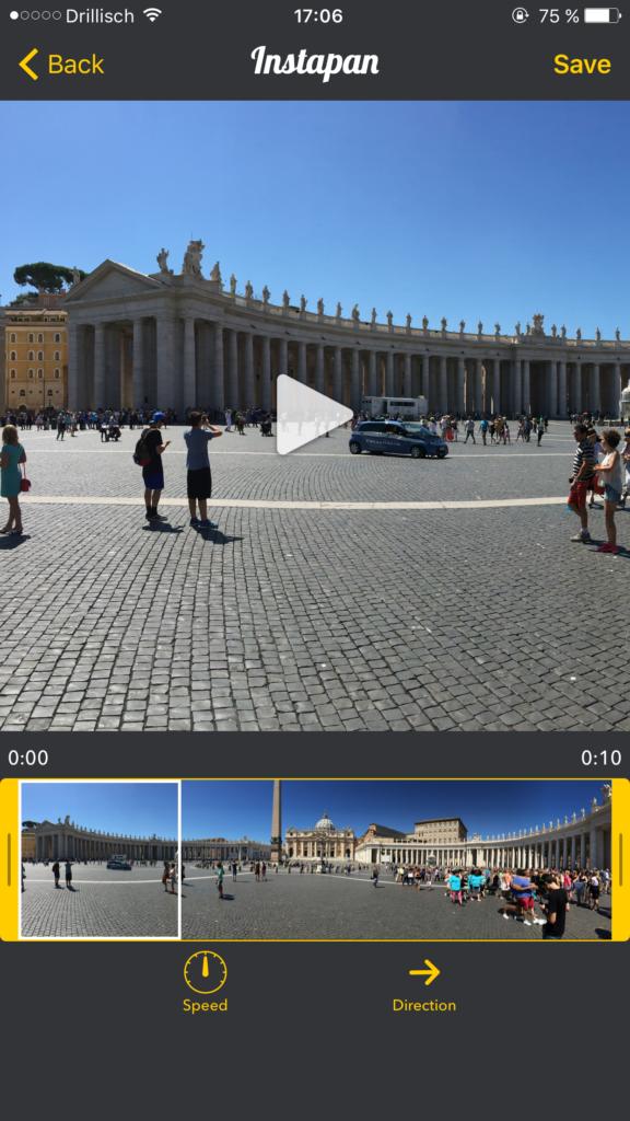 Instapan: Panoramabilder in Videos für Instagram umwandeln