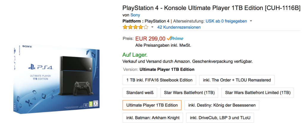 Deal: PlayStation 4 – Ultimate Player 1TB Edition für 299 Euro
