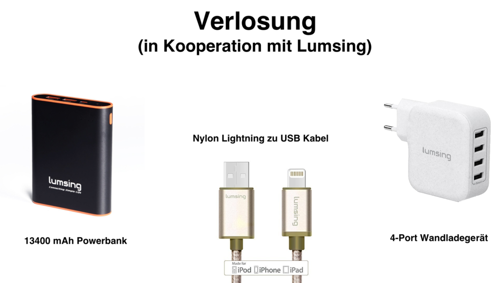 Verlosung: 13.400 mAh Powerbank | Nylon Lightning zu USB Kabel | 4-Port Wandladegerät [+Gewinner]
