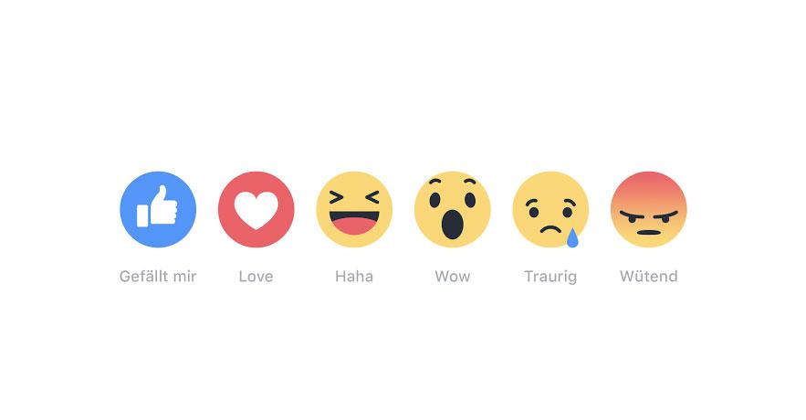 Facebook Reactions jetzt weltweit verfügbar