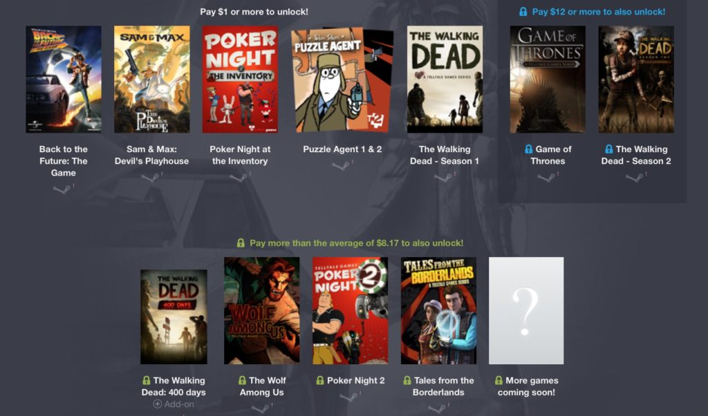Humble Bundle: Telltale Games (The Walking Dead, Game of Thrones, …)