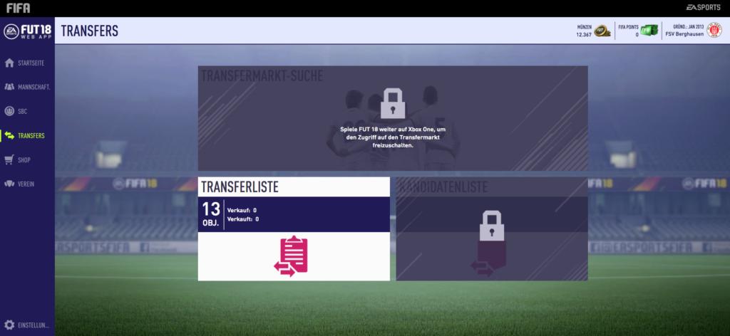 FIFA 18: FUT 18 (Web) App – Transfermarkt freischalten