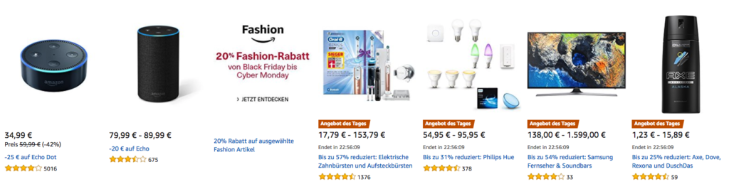 Amazon Cyber Monday: Tagesangebote vom 24.11.2017