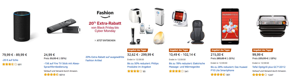 Amazon Cyber Monday: Tagesangebote vom 25.11.2017