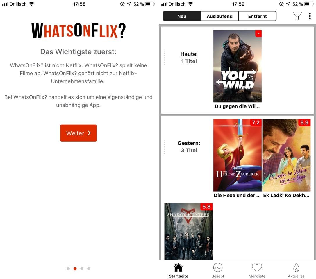 WhatsOnFlix: Neue und auslaufende Netflix-Angebote übersichtlich dargestellt